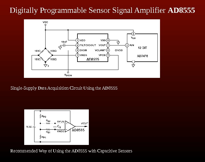 Digitally Programmable Sensor Signal Amplifier AD 8555 Single-Supply Data Acquisition Circuit Using the AD
