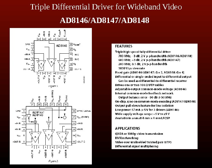 Triple Differential Driver for Wideband Video AD 8146/AD 8147/AD 8148