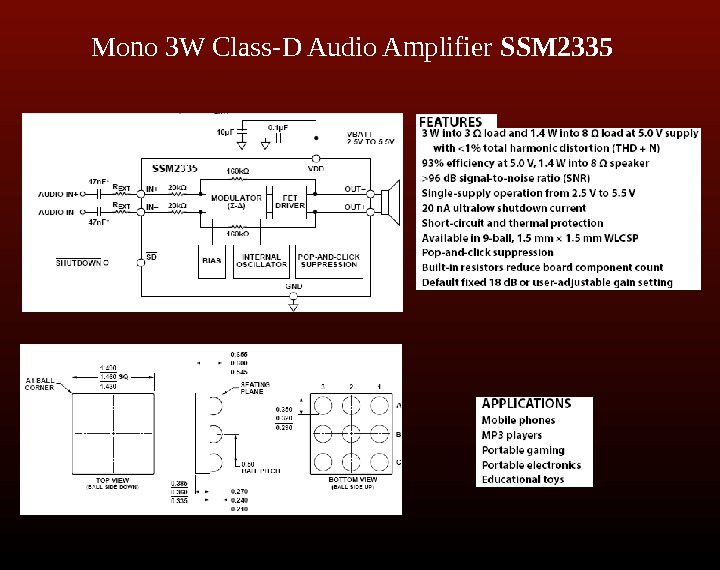 Mono 3 W Class-D Audio Amplifier SSM 2335