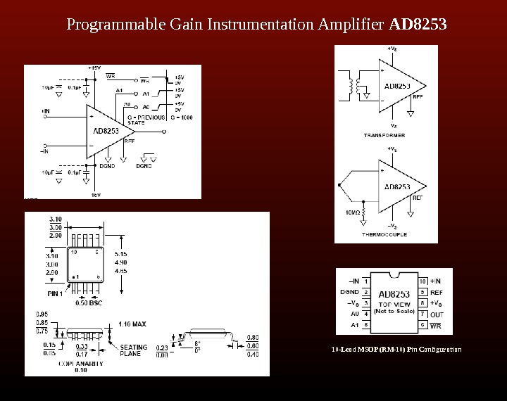 Programmable Gain Instrumentation Amplifier AD 8253 10 -Lead MSOP (RM-10) Pin Configuration