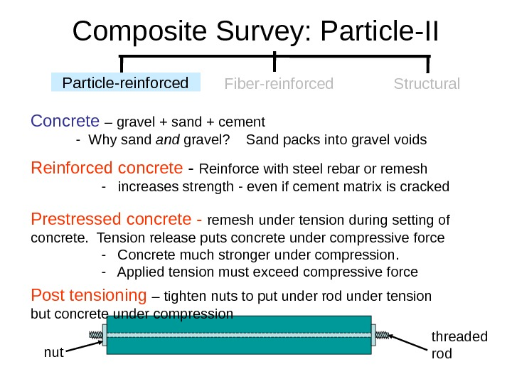 Composite Survey: Particle-II Concrete  – gravel + sand + cement  - Why sand gravel?