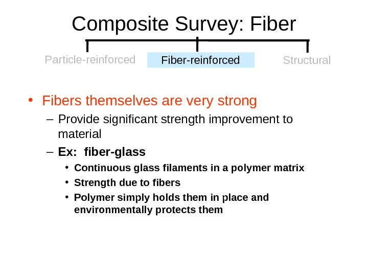 Composite Survey: Fiber • Fibers themselves are very strong – Provide significant strength improvement to material