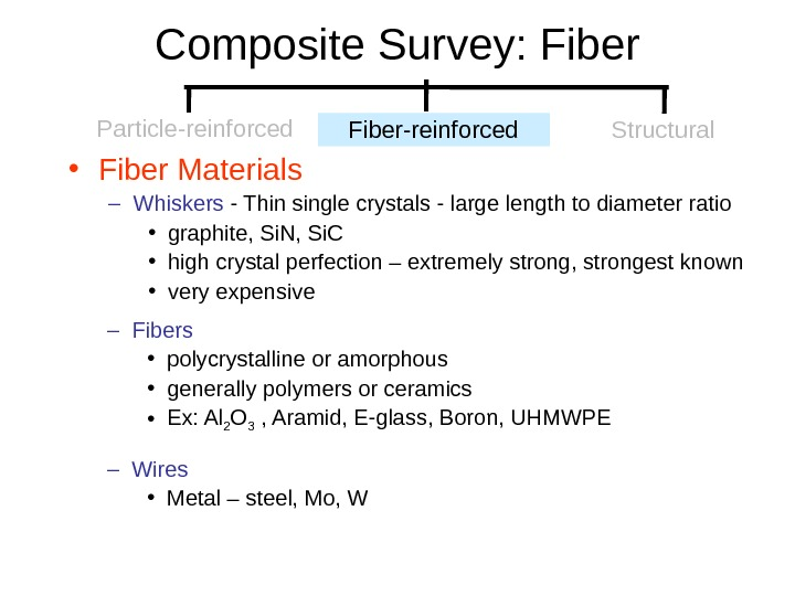 Composite Survey: Fiber • Fiber Materials – Whiskers - Thin single crystals - large length to