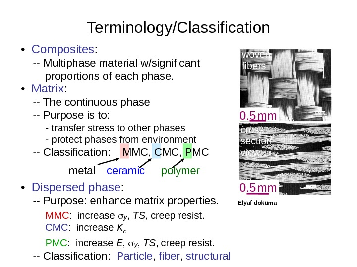 •  Composites :  -- Multiphase material w/significant   proportions of each phase.