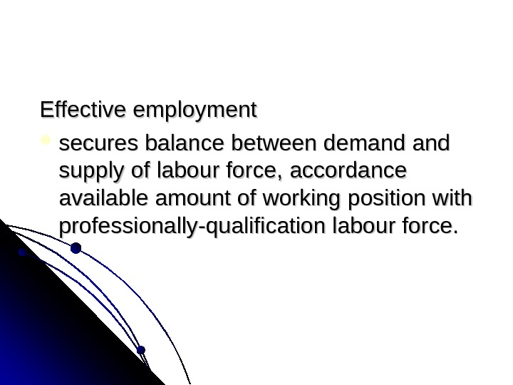 Effective employment ss ecure sbalance between demand andand supply oflabourforce, accordance available amount ofof workingposition
