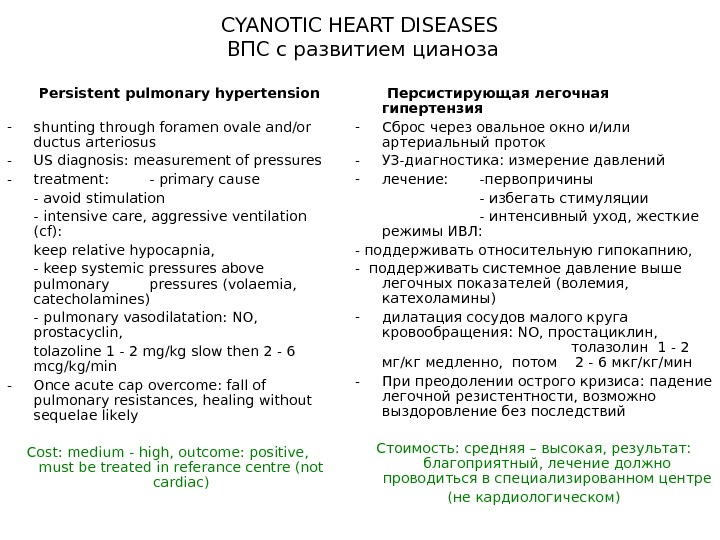 CYANOTIC HEART DISEASES ВПС с развитием цианоза  Persistent pulmonary hypertension  - shunting through