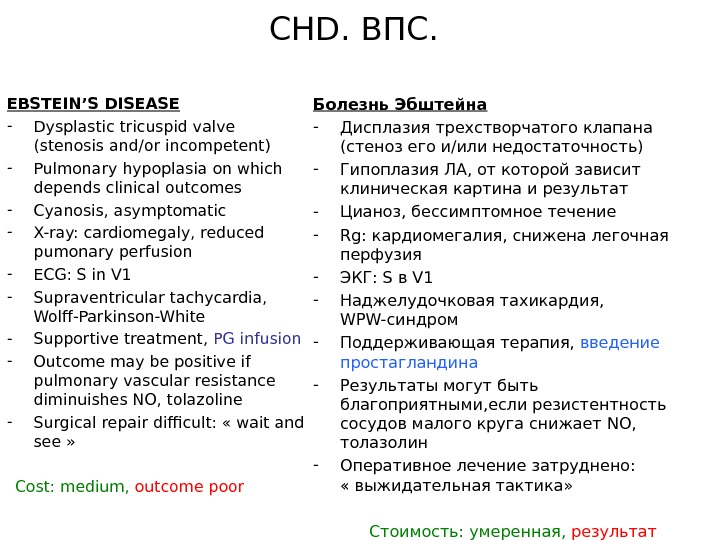 CHD. ВПС. EBSTEIN'S DISEASE - Dysplastic tricuspid valve (stenosis and/or incompetent) - Pulmonary hypoplasia on