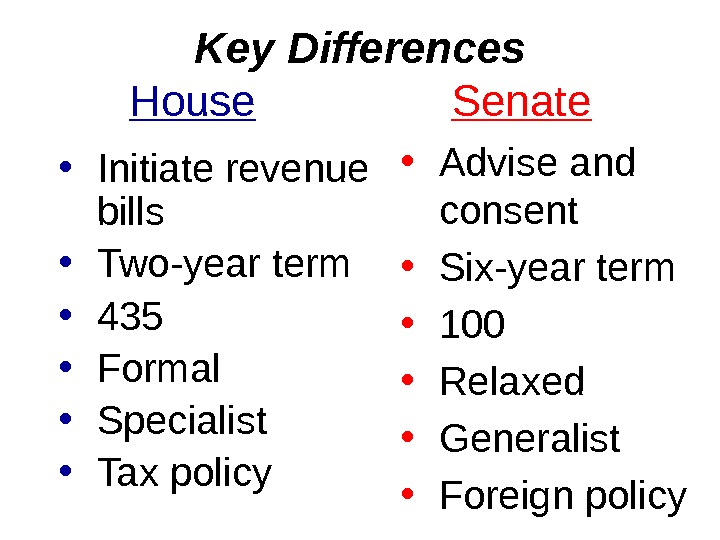 Key Differences House   Senate • Initiate revenue bills • Two-year term • 435 •