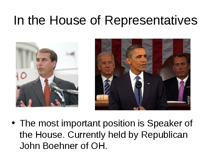 In the House of Representatives • The most important position is Speaker of the House. Currently
