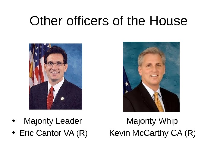 Other officers of the House • Majority Leader    Majority Whip • Eric Cantor