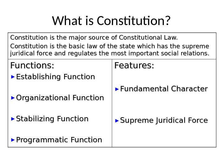 What is Constitution? Constitution is the major source of Constitutional Law. Constitution is the basic law