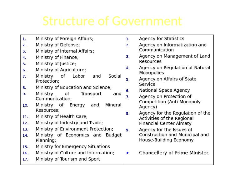 Structure of Government 1. 1. Ministry of Foreign Affairs ; ;  2. 2. Ministry of