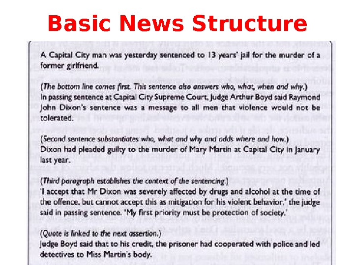 Basic News Structure