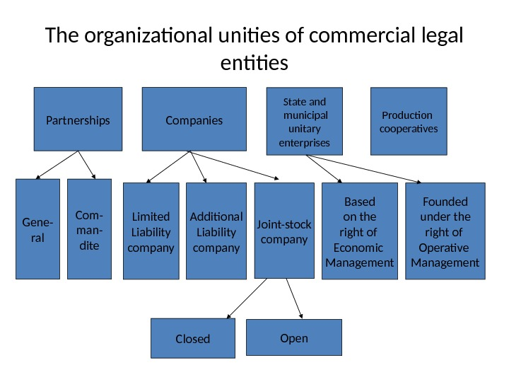 The organizational unities of commercial legal entities Partnerships Companies State and  municipal unitary enterprises Production
