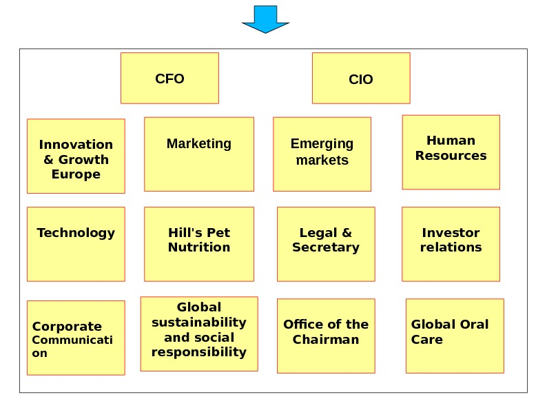 СIO Marketing Emerging markets Human Resources Technology Hill's Pet Nutrition Legal & Secretary Investor relations Corporate