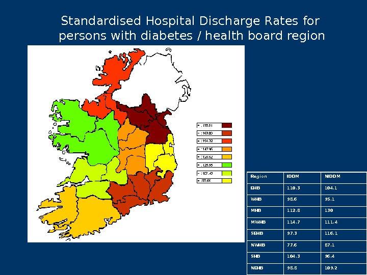 Standardised Hospital Discharge Rates for persons with diabetes / health board region Region IDDM