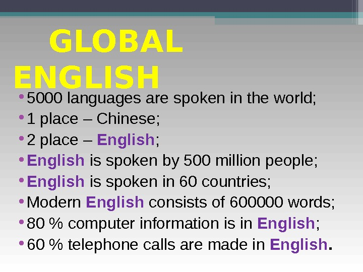 GLOBAL ENGLISH • 5000 languages are spoken in the world;  • 1 place – Chinese;