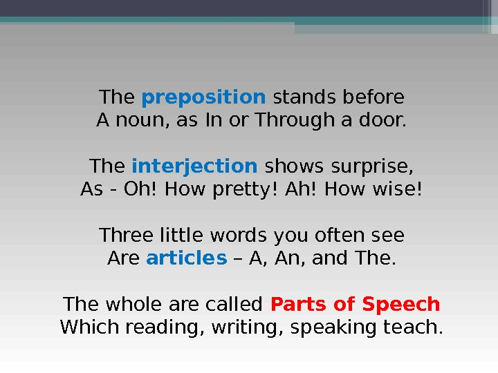 The preposition stands before A noun, as In or Through a door. The interjection shows surprise,