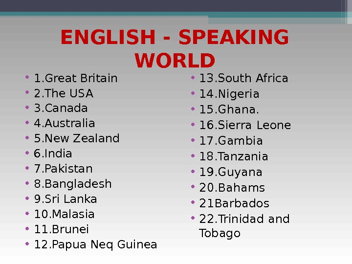 ENGLISH - SPEAKING WORLD • 1. Great Britain • 2. The USA • 3. Canada •