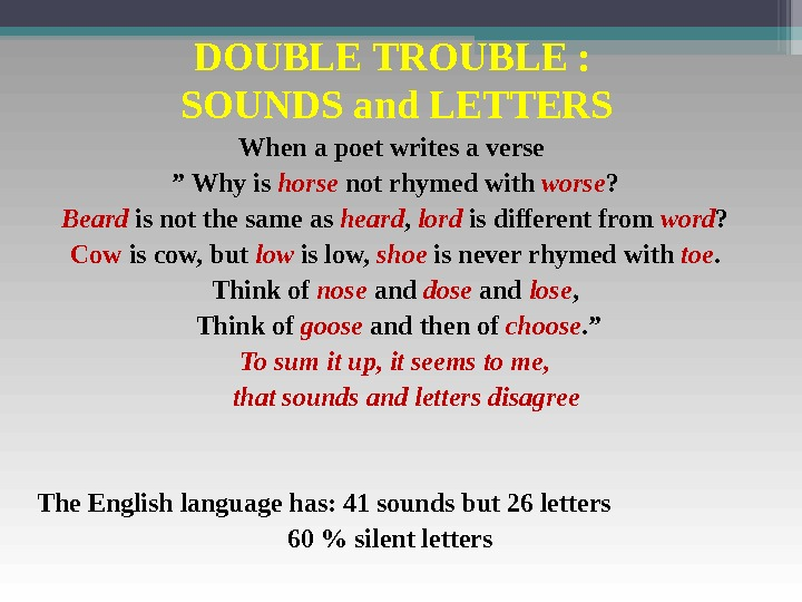 "DOUBLE TROUBLE :  SOUNDS and LETTERS When a poet writes a verse "" Why is"