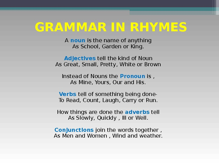 GRAMMAR IN RHYMES A noun is the name of anything As School, Garden or King.