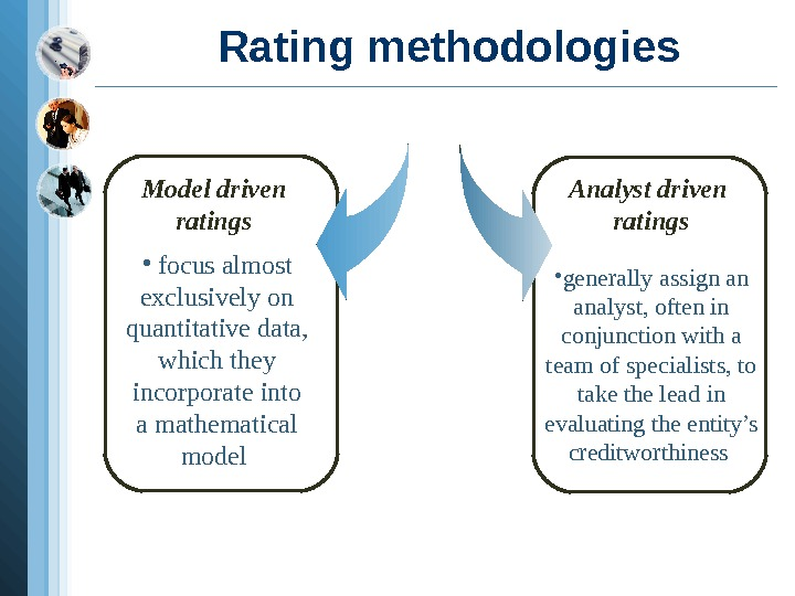 Rating methodologies Model driven ratings  •  focus almost exclusively on quantitative data,