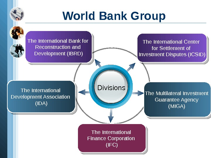 World Bank Group Divisions The International Development Association (IDA)The International Bank for Reconstruction and