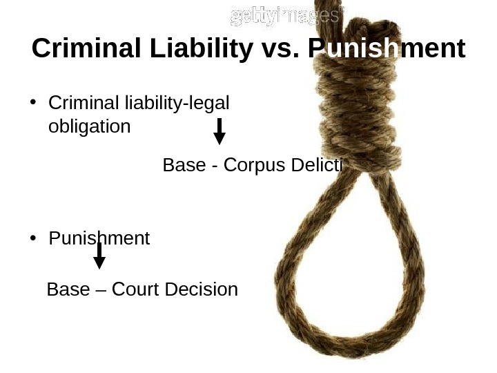Criminal Liability vs. P unish ment • Criminal liability-legal obligation • Punishment Base -