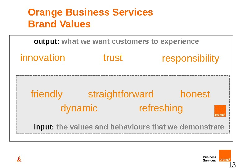13 output:  what we want customers to experience input:  the values and behaviours that