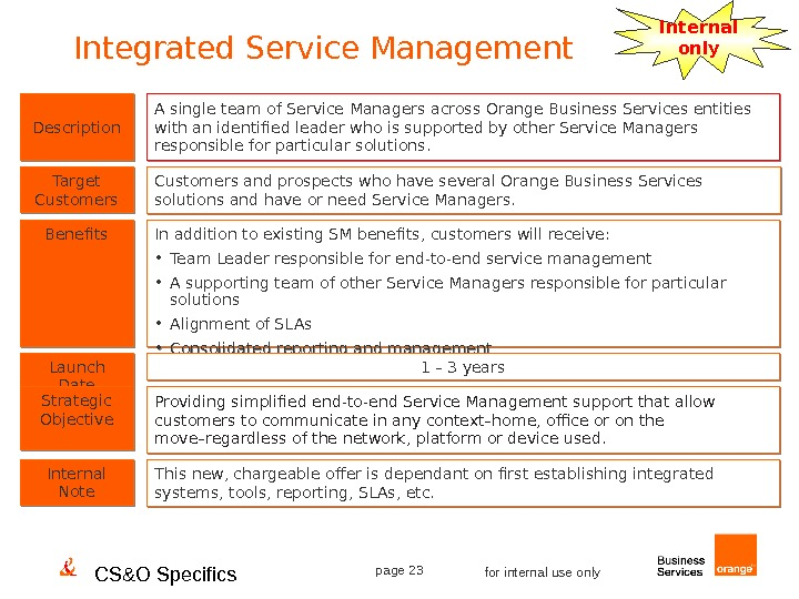 CS&O Specifics page 23 for internal use only. Integrated Service Management Internal only Description Benefits Target