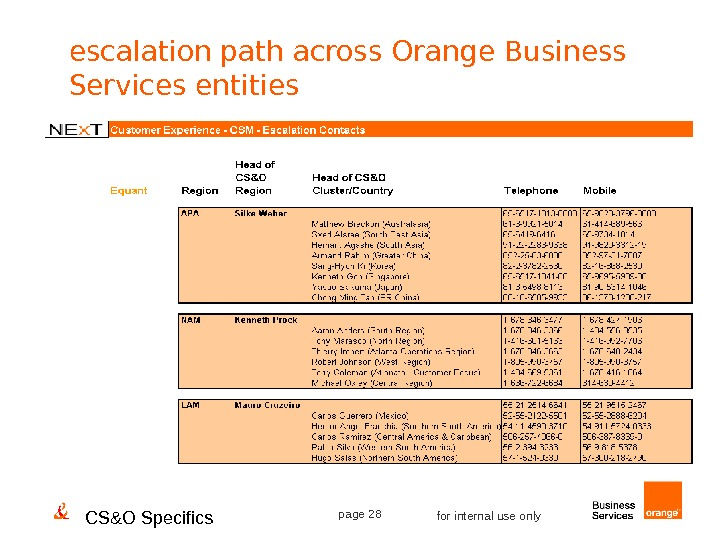 CS&O Specifics page 28 for internal use onlyescalation path across Orange Business Services entities