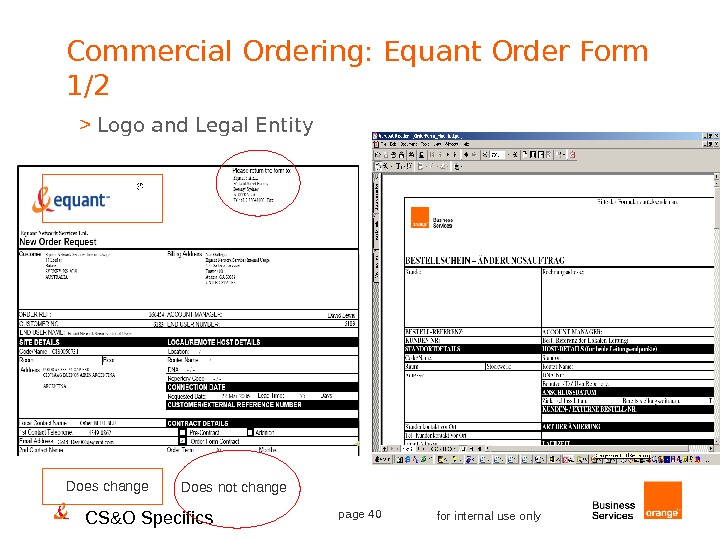 CS&O Specifics page 40 for internal use only. Commercial Ordering: Equant Order Form 1/2