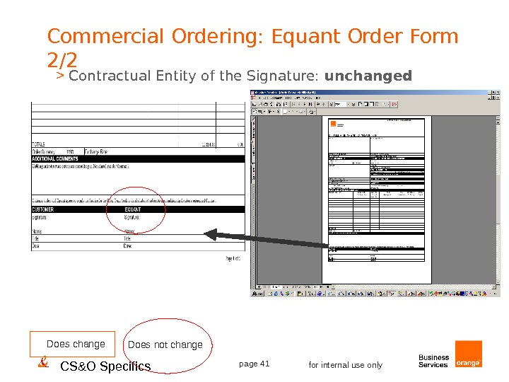 CS&O Specifics page 41 for internal use only. Commercial Ordering: Equant Order Form 2/2