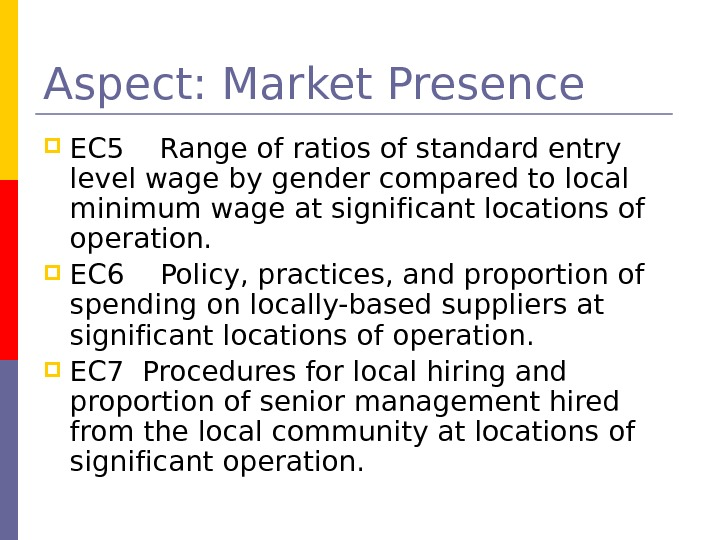 Aspect: Market Presence EC 5  Range of ratios of standard entry level wage