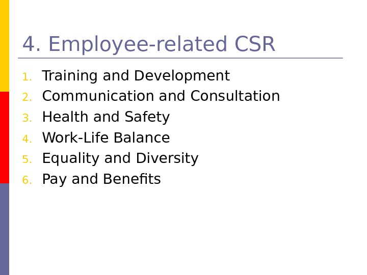 4. Employee-related CSR 1. Training and Development 2. Communication and Consultation 3. Health and