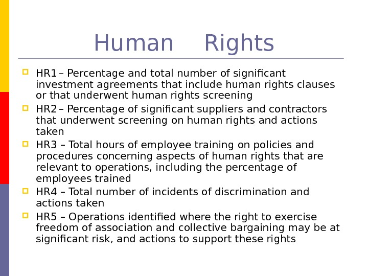 Human Rights HR 1 – Percentage and total number of significant investment agreements that
