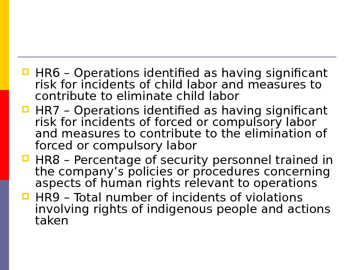 HR 6 – Operations identified as having significant risk for incidents of child labor