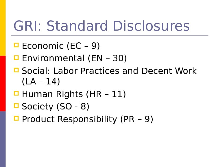 GRI: Standard Disclosures Economic (EC – 9) Environmental (EN – 30)  Social: