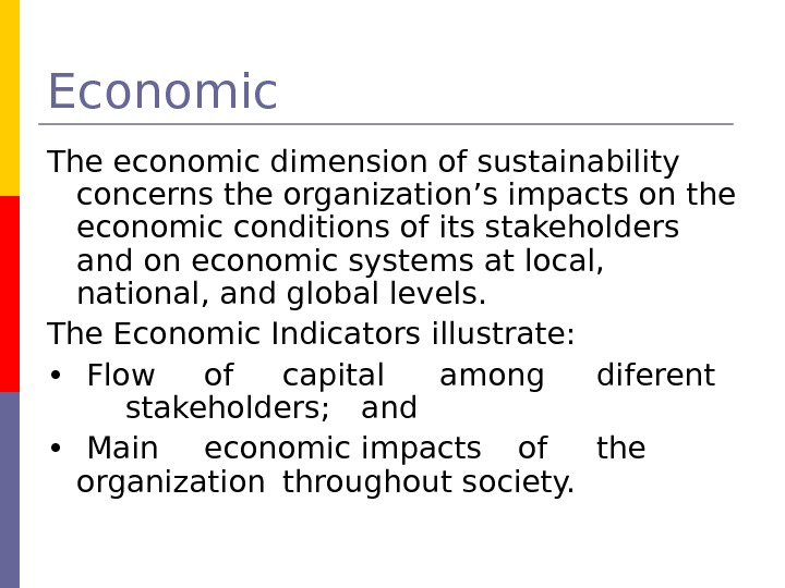Economic The economic dimension of sustainability concerns the organization's impacts on the economic conditions