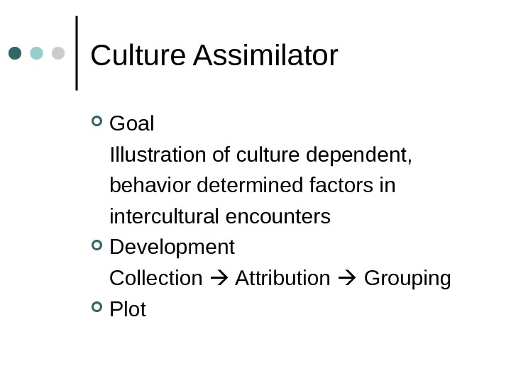 Culture Assimilator Goal Illustration of culture dependent, behavior determined factors in intercultural encounters Development Collection