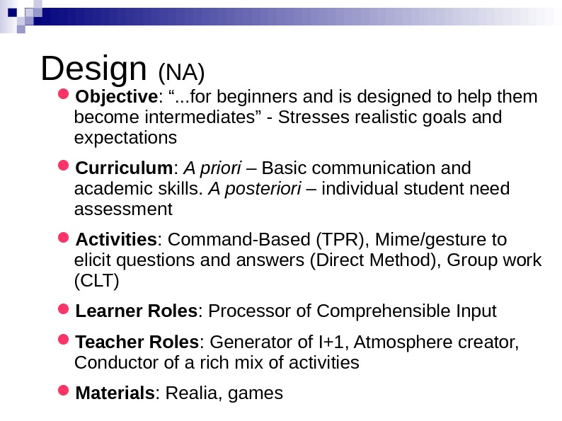 "Design (NA) Objective : "". . . for beginners and is designed to help"