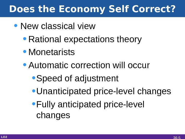 Does the Economy Self Correct?  • New classical view  • Rational expectations theory •