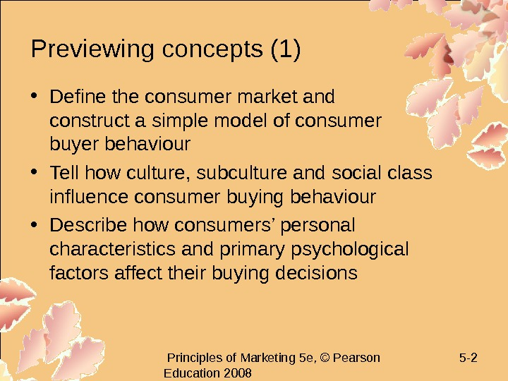 Principles of Marketing 5 e, © Pearson Education 2008 5 - 2 Previewing concepts