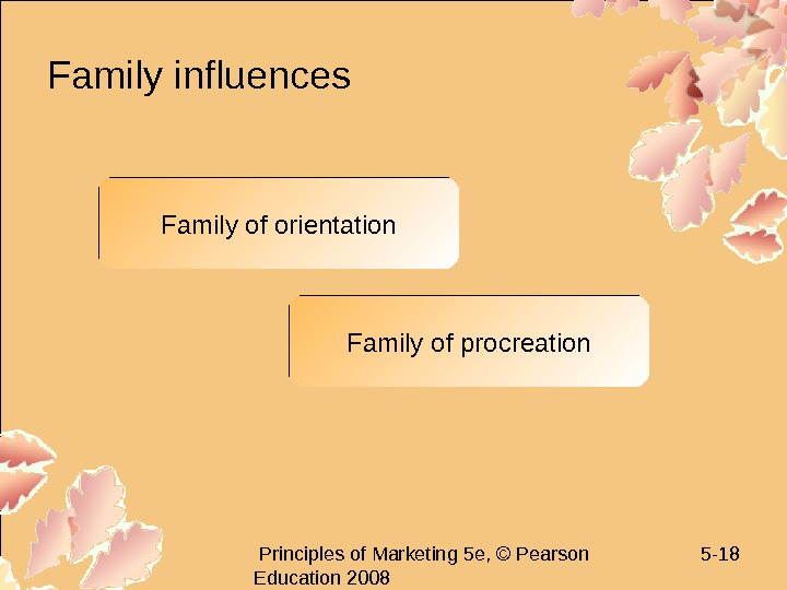 Principles of Marketing 5 e, © Pearson Education 2008 5 - 18 Family influences