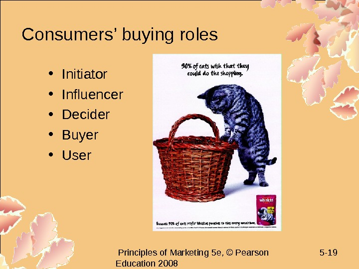 Principles of Marketing 5 e, © Pearson Education 2008 5 - 19 Consumers' buying