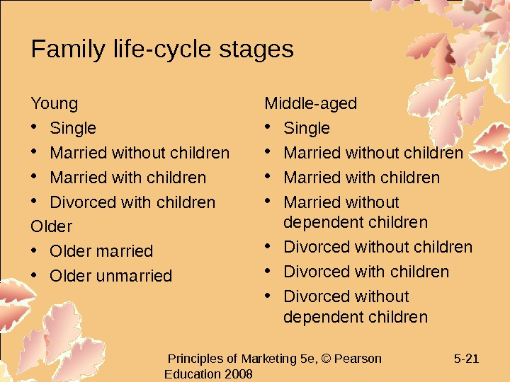 Principles of Marketing 5 e, © Pearson Education 2008 5 - 21 Family life-cycle