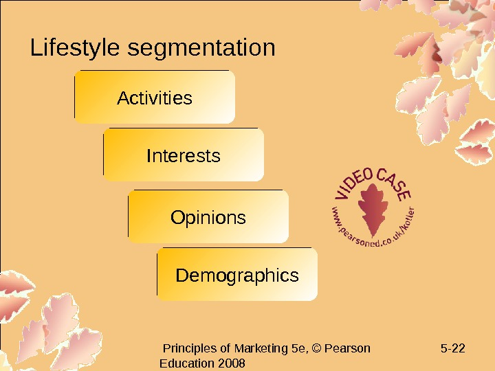 Principles of Marketing 5 e, © Pearson Education 2008 5 - 22 Lifestyle segmentation