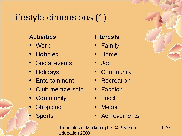 Principles of Marketing 5 e, © Pearson Education 2008 5 - 24 Lifestyle dimensions