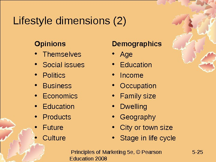 Principles of Marketing 5 e, © Pearson Education 2008 5 - 25 Lifestyle dimensions