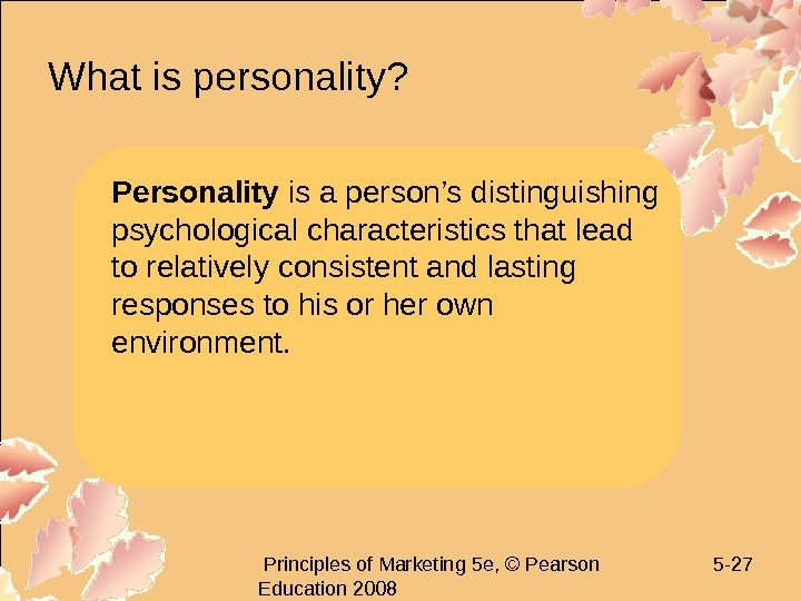 Principles of Marketing 5 e, © Pearson Education 2008 5 - 27 What is